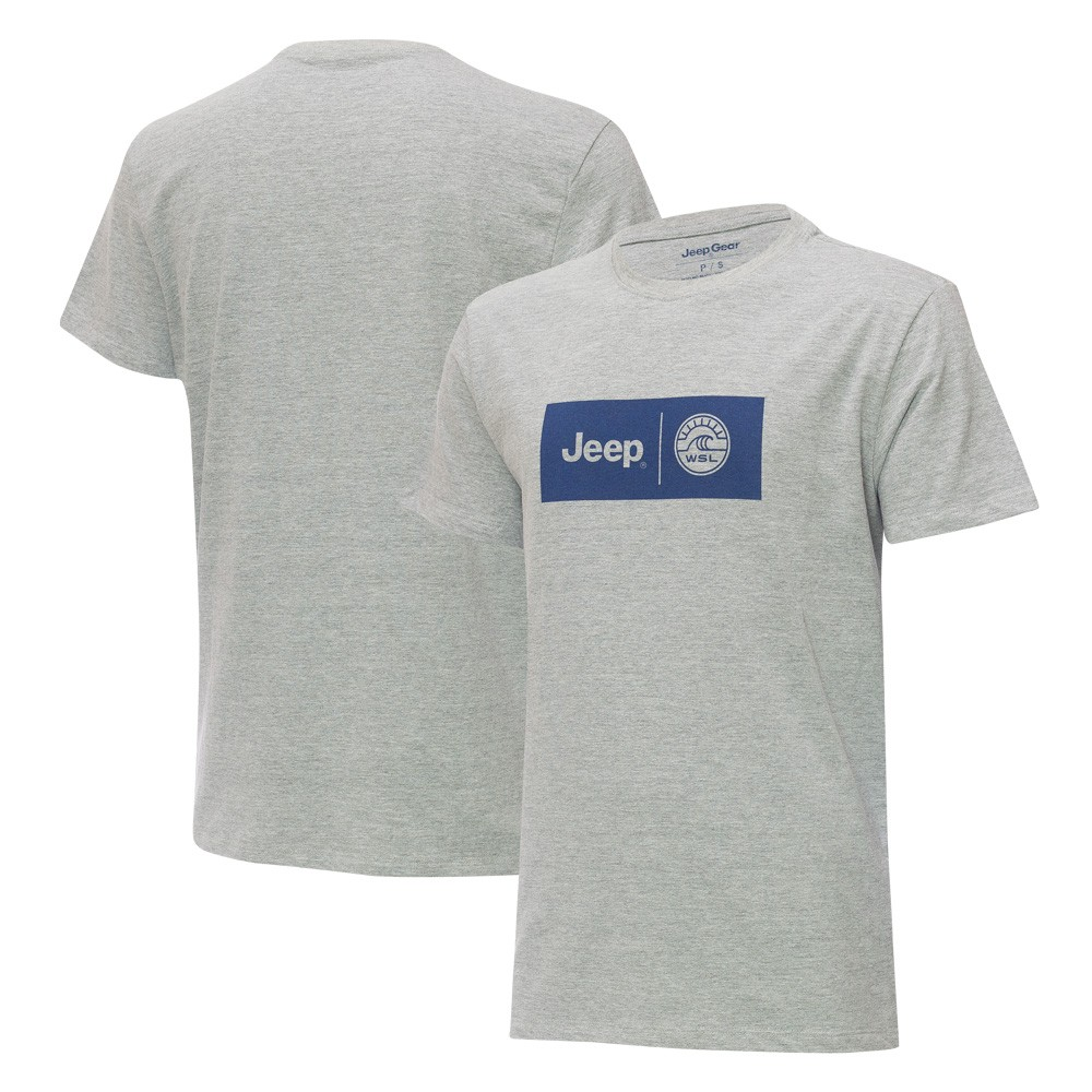 Camiseta Masc. JEEP e WSL Collab Logo Cinza Mescla
