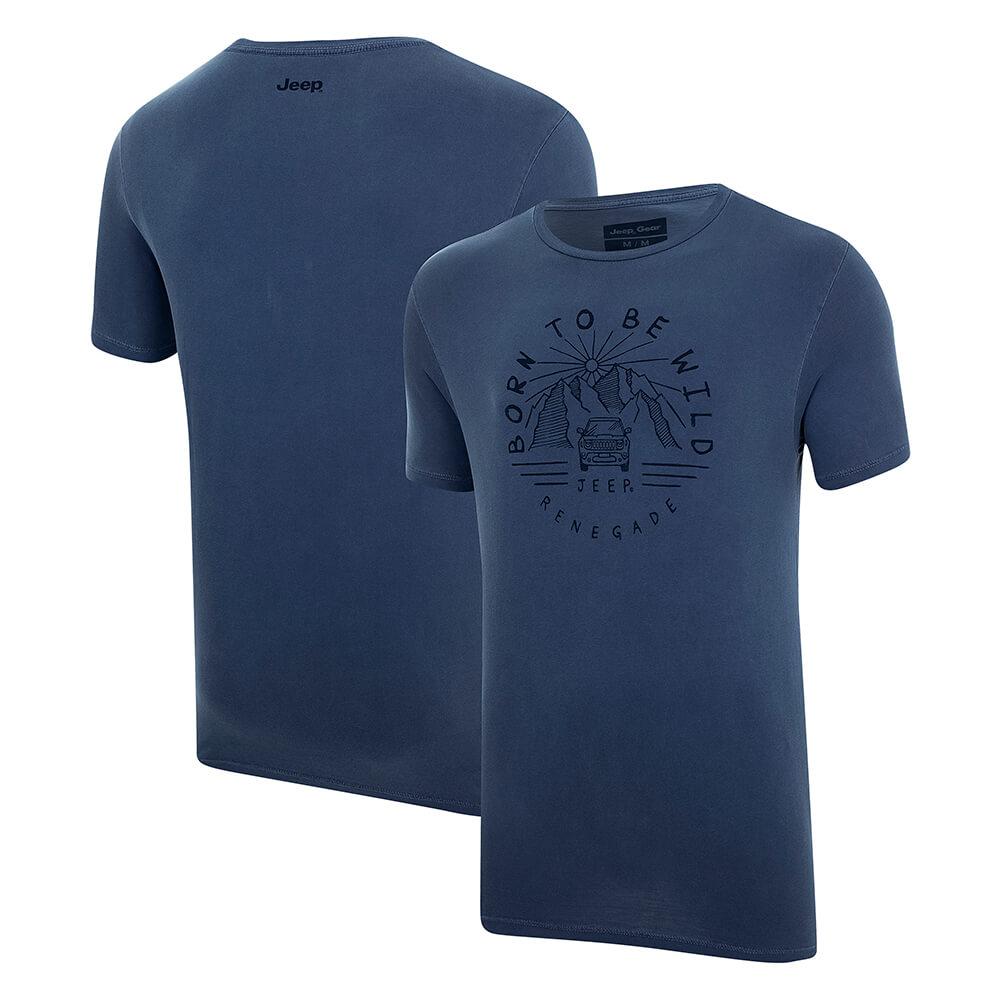 Camiseta Masc. JEEP Renegade Wild Estonada Azul Marinho