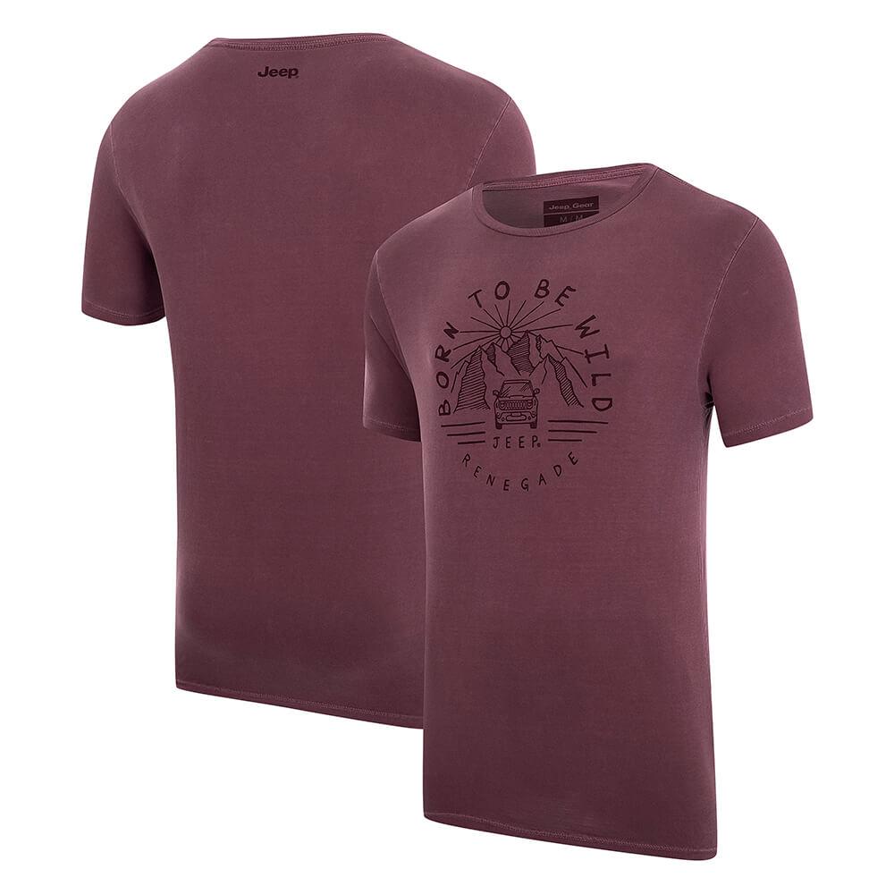 Camiseta Masc.  JEEP Renegade Wild Estonada - Vinho