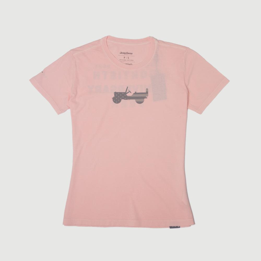 Camiseta Fem. JEEP 80th Anniversary Estonada - Rosa Claro