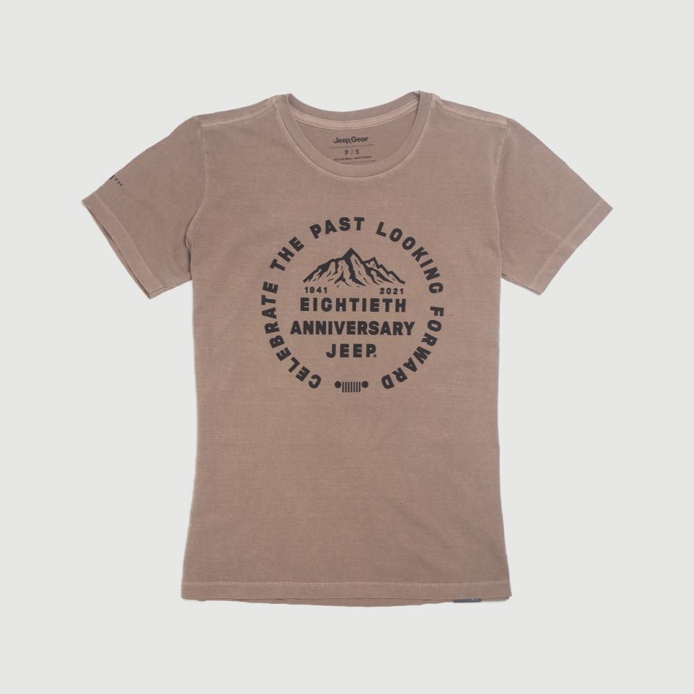 Camiseta Fem. JEEP 80th Anniversary Round Estonada - Marrom