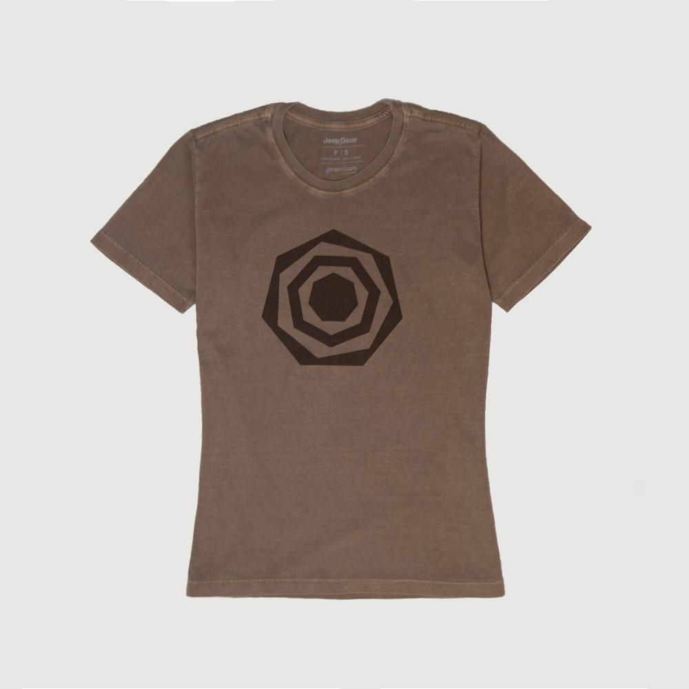 Camiseta Fem. JEEP Compass Heptagon Lavada Estonada - Marrom