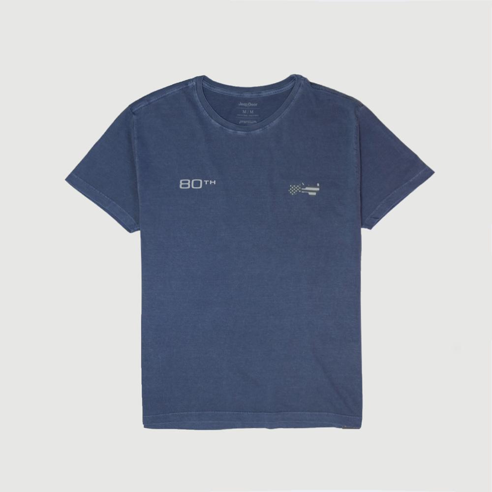 Camiseta Masc. JEEP Compass 80th Anniversary Lavada Estonada - Azul Marinho