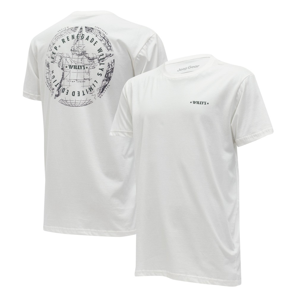 Camiseta Masc. JEEP Limited Edition Renegade Willys Map - Branca