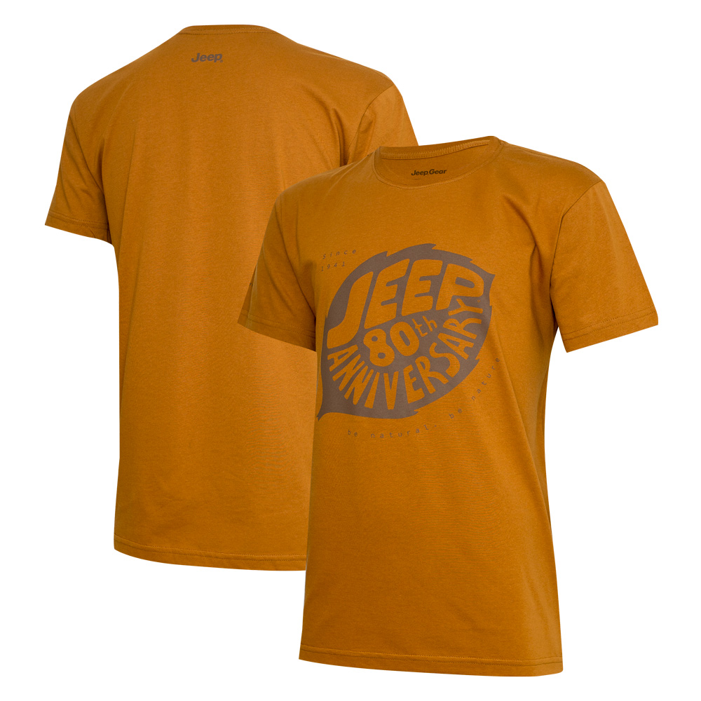 Camiseta Masc. DTG JEEP 80th Anniversary Leaf - Conhaque