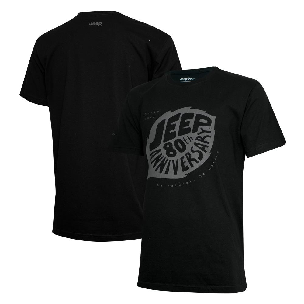 Camiseta Masc. DTG JEEP 80th Anniversary Leaf - Preta