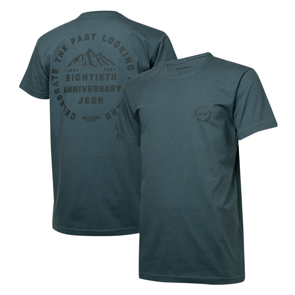 Camiseta Masc. DTG JEEP 80th Anniversary Round - Chumbo