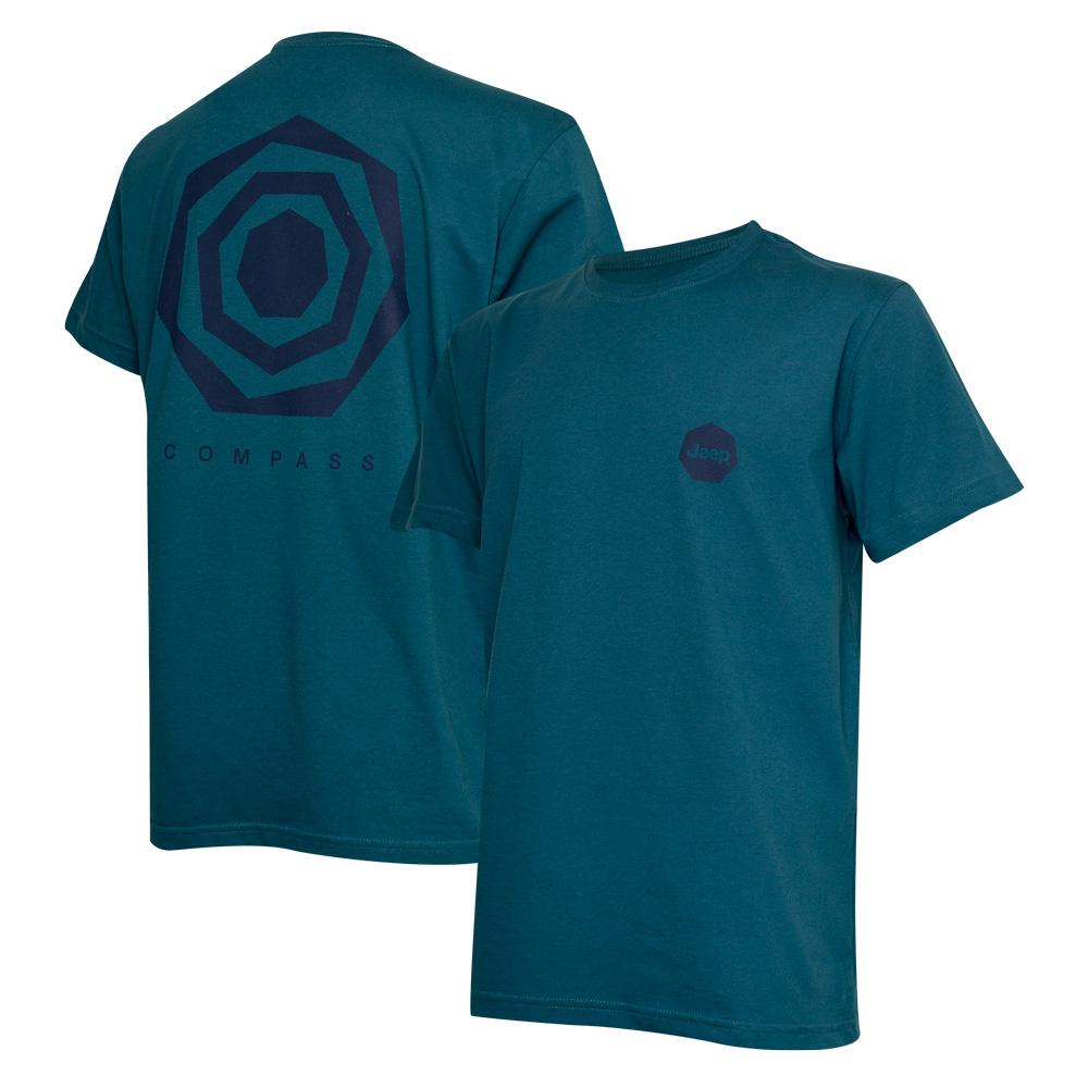 Camiseta Masc. DTG JEEP Compass Back Heptagon - Azul Petróleo