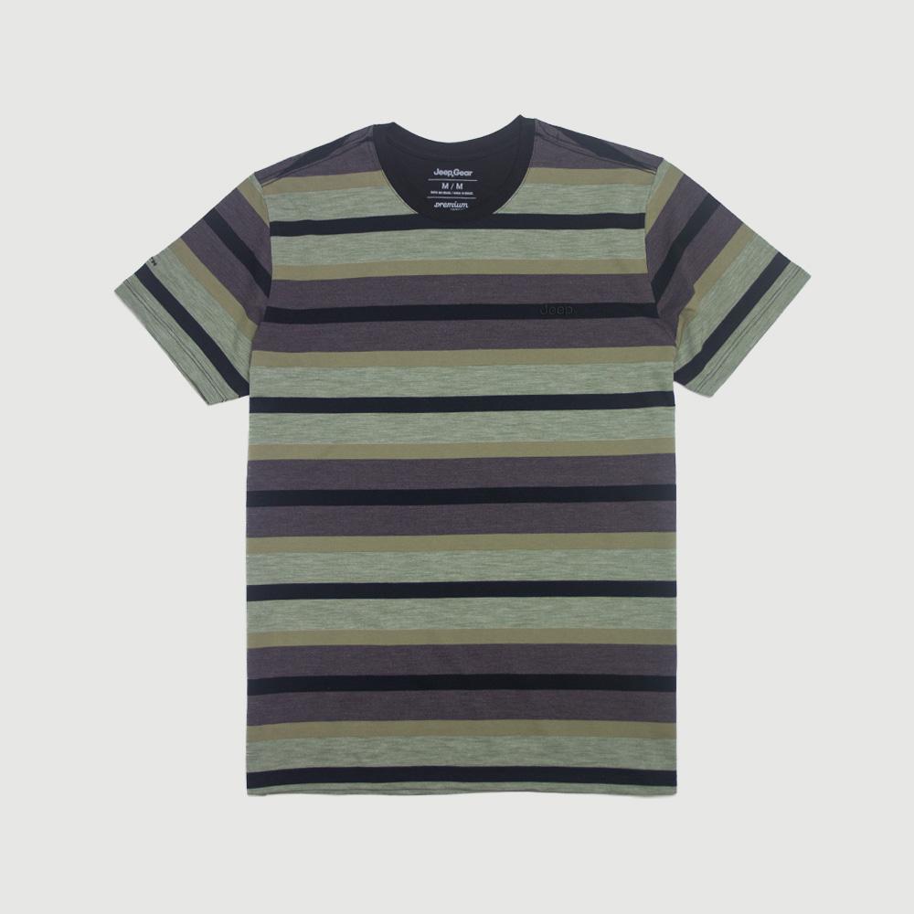Camiseta Masc. Especial JEEP 80th Anniversary Natural Striped - Verde