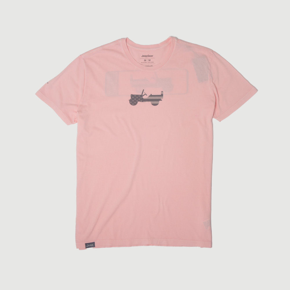 Camiseta Masc. JEEP 80th Anniversary Estonada - Rosa Claro
