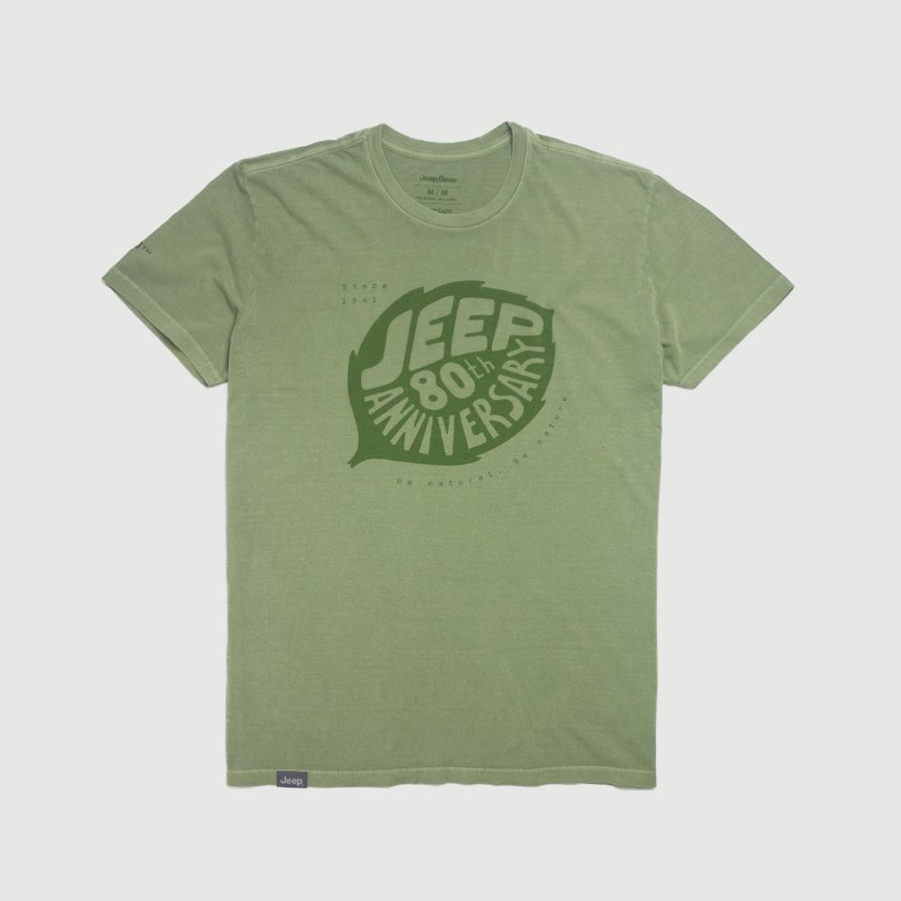 Camiseta Masc. JEEP 80th Anniversary Leaf Estonada - Verde Militar