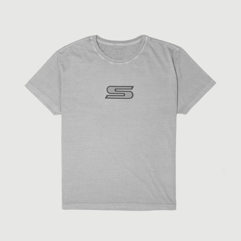 Camiseta Masc. JEEP Compass Series S Lavada Estonada - Cinza Claro