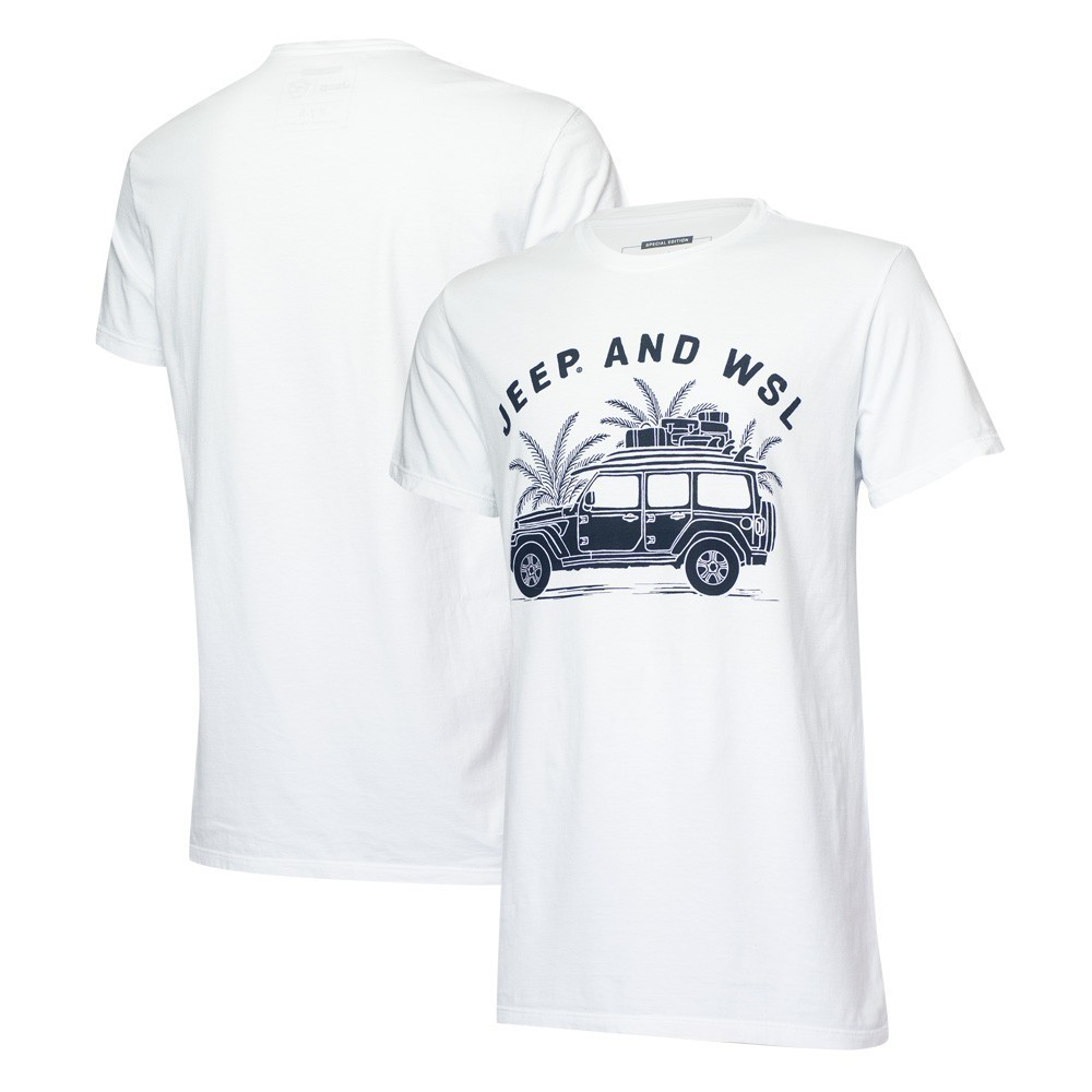 Camiseta Masc. JEEP I WSL Beach Wrangler - Branca