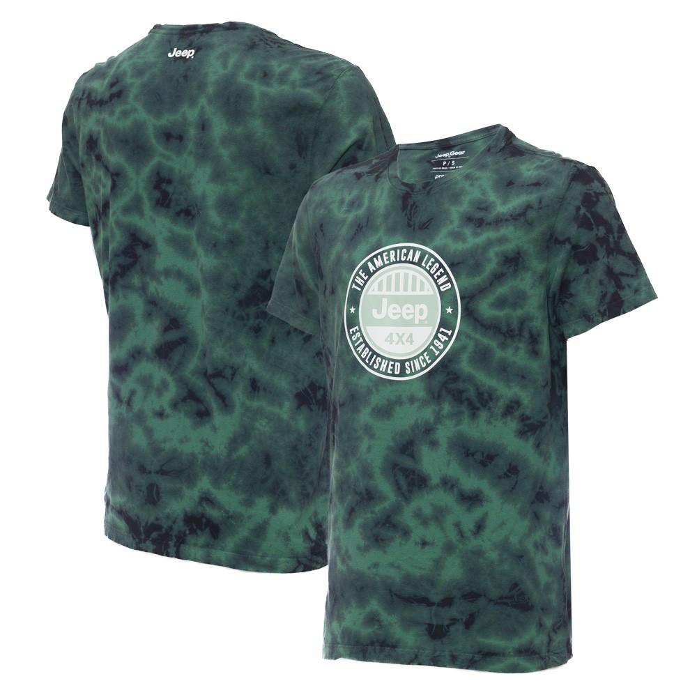 Camiseta Masc. JEEP Tie Dye Round Verde