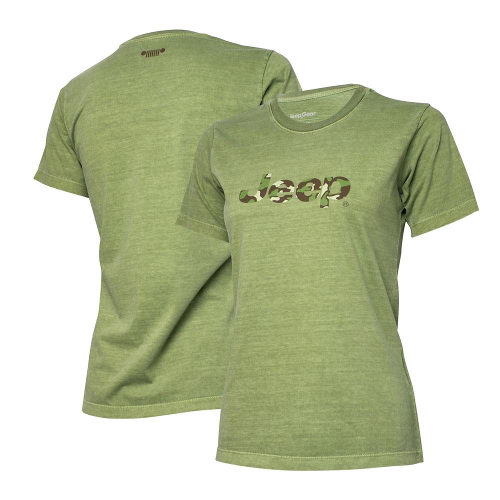 Camiseta Super Premium Fem. JEEP Logo Camuflado Estonada - Verde Militar