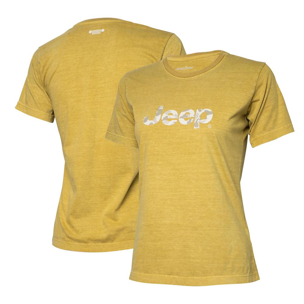 Camiseta Super Premium Fem. JEEP Logo Camuflado Estonada - Areia