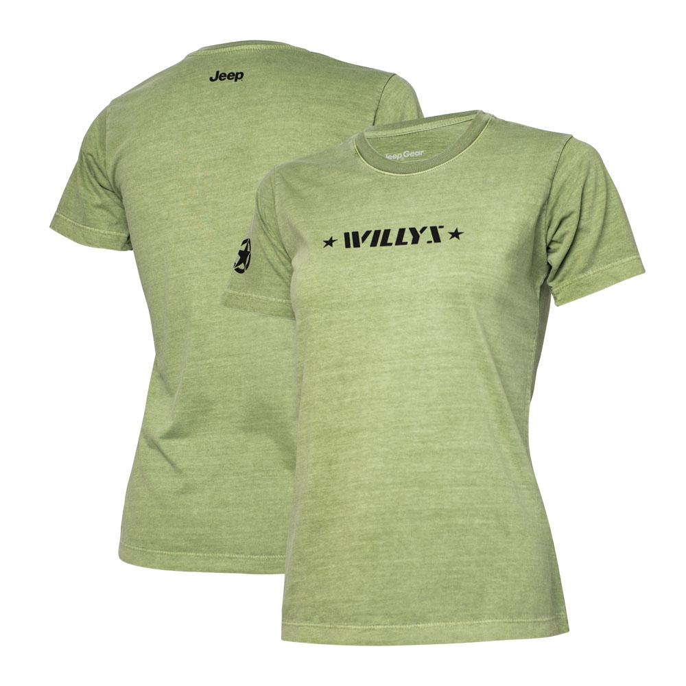 Camiseta Super Premium Fem. JEEP Willys Estonada - Verde Militar