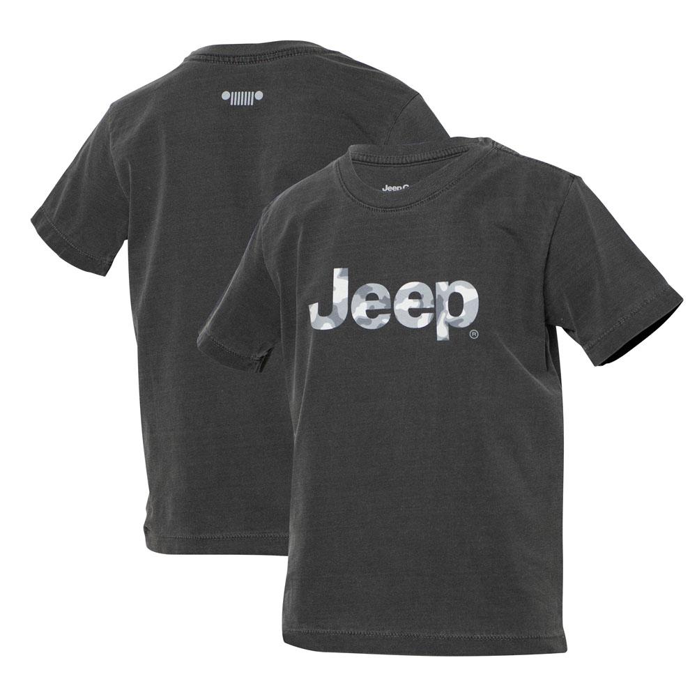 Camiseta Super Premium Inf. JEEP Logo Camuflado Estonado - Preta
