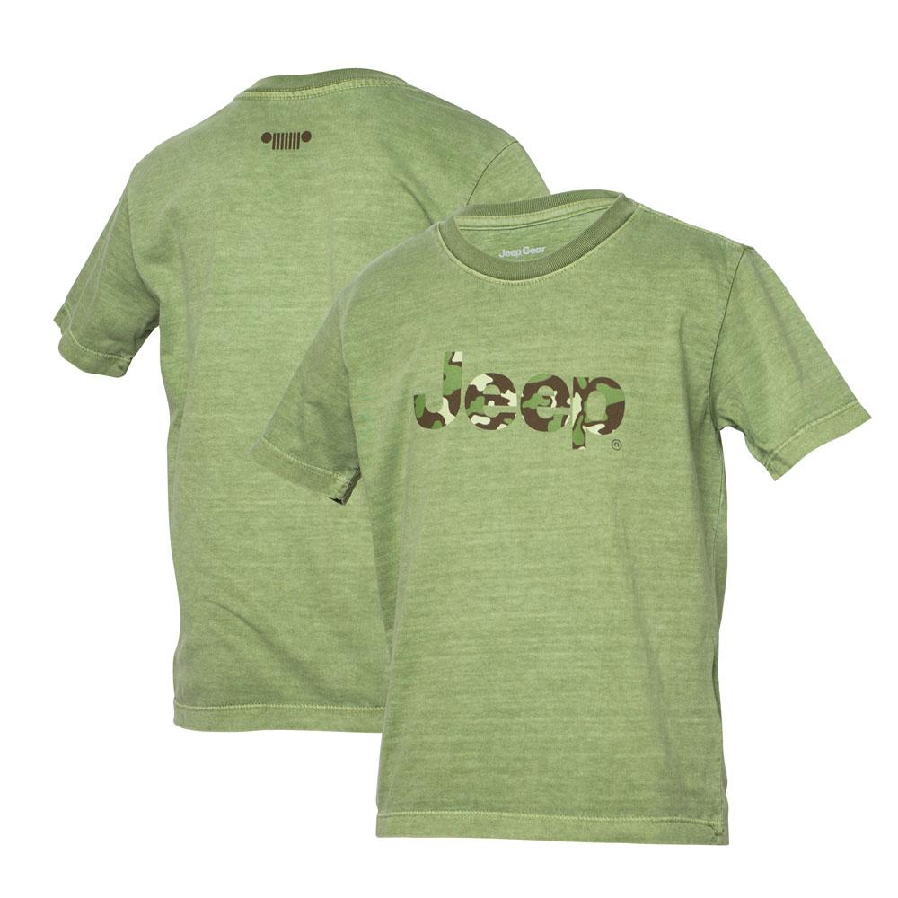 Camiseta Super Premium Inf. JEEP Logo Camuflado Estonado - Verde Militar