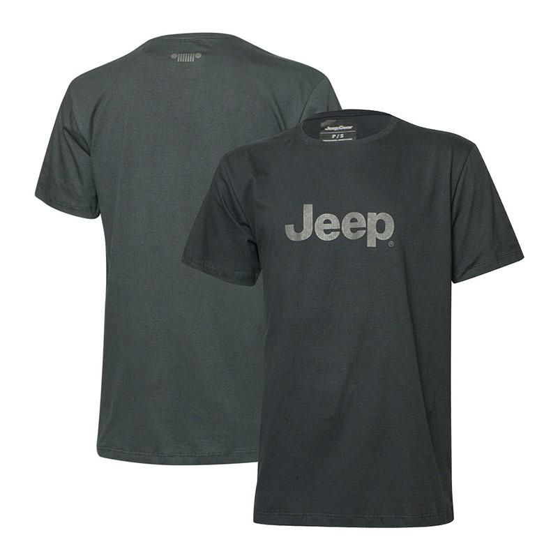 Camiseta Super Premium JEEP Logo Camuflado Estonada - Preta