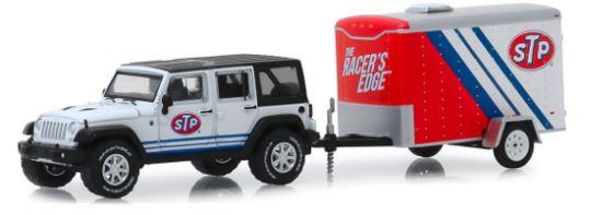 Miniatura JEEP Wrangler STP - Hitch and Tow - 1:64 - Branco / Azul / Vermelho