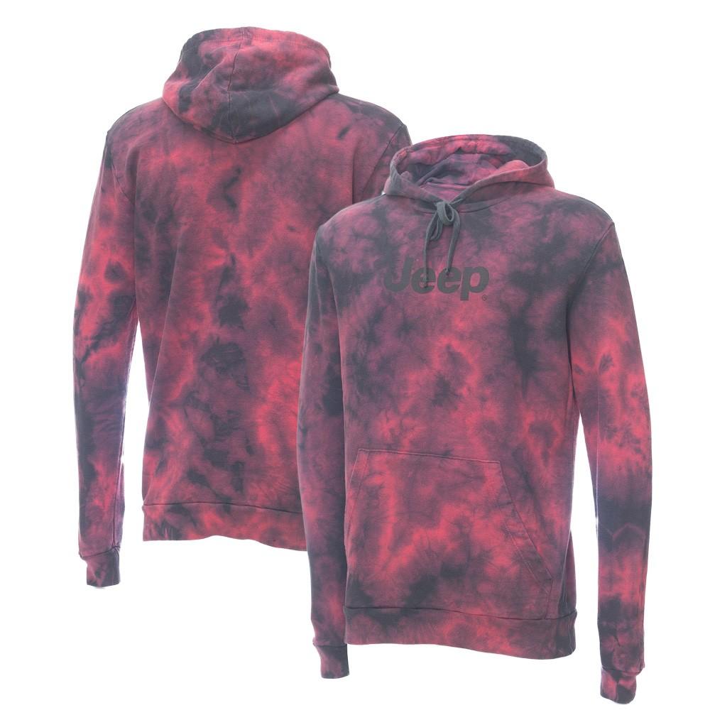 Moletom Canguru JEEP - Lavada Tie-Dye - Logo - Vermelho