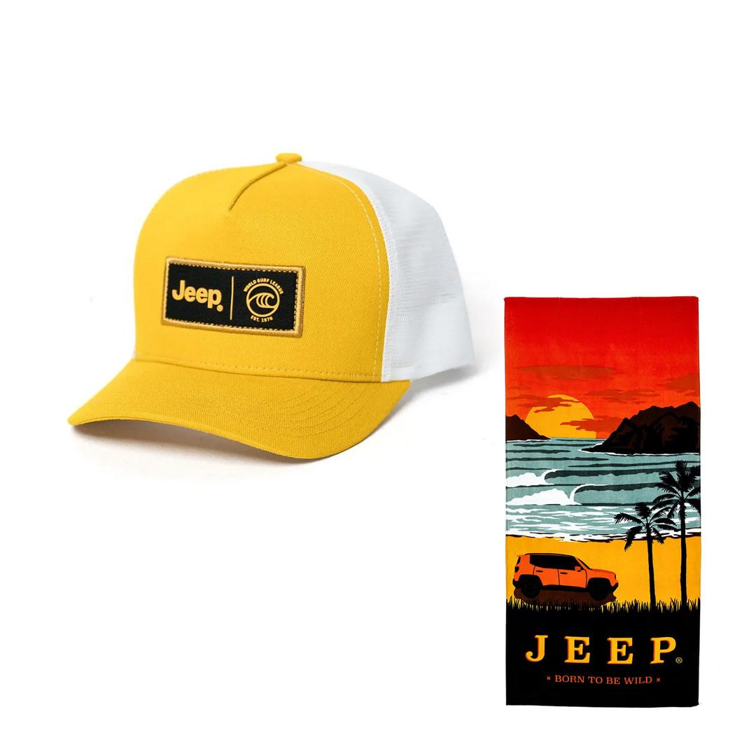 Toalha Jeep Preta + Boné Jeep WSL Amarelo/Branco