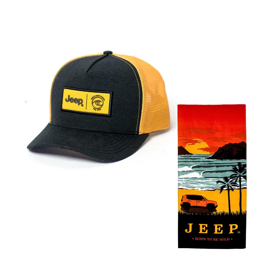 Toalha Jeep Preta + Boné Jeep WSL Preto/Amarelo