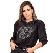 BLUSA FEMININA BUPHALLOS MANGA BUFANTE PRETA COM STRASS