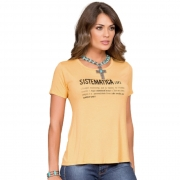 T-SHIRT FEMININA BUPHALLOS AMARELA SISTEMÁTICA