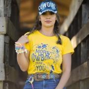 T-SHIRT FEMININA POWER COUNTRY AMARELA SILK AZUL