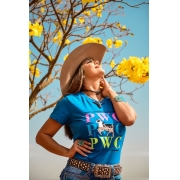 T-SHIRT FEMININA POWER COUNTRY AZUL ROYAL PWC
