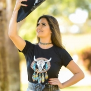 T-SHIRT FEMININA POWER COUNTRY PRETA FILTRO DOS SONHOS