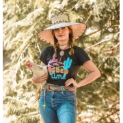 T-SHIRT FEMININA POWER COUNTRY PRETA RODEO TIME