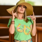 T-SHIRT FEMININA POWER COUNTRY VERDE FERRADURAS