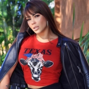 T-SHIRT FEMININA POWER COUNTRY VERMELHA TEXAS