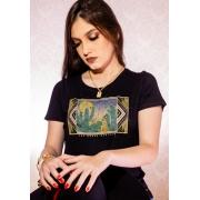 T-SHIRT FEMININA ZOE WESTERN PRETA 2108