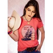 T-SHIRT FEMININA ZOE WESTERN ROSA COM STRASS 2136