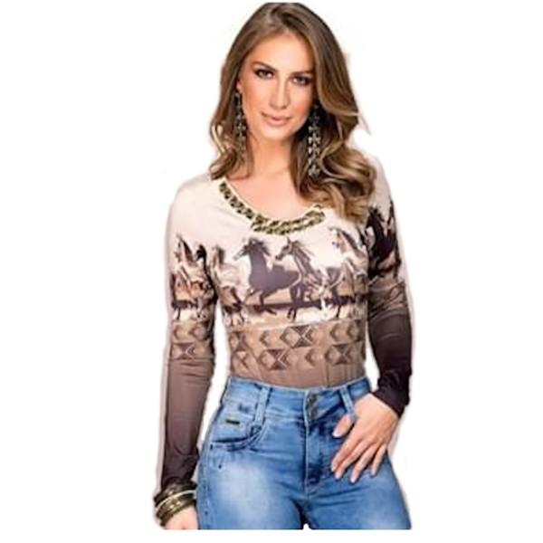 BODY FEMININO BUPHALLOS JEANS COM PEDRAS E STRASS REF. 9895A