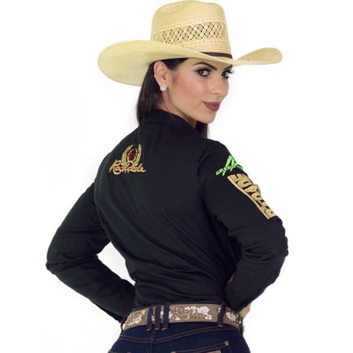 CAMISA FEMININA RADADE MANGA LONGA BORDADA GREEN TEAM PRETA