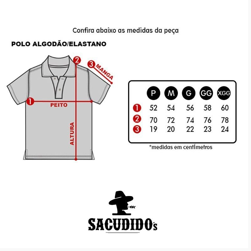 POLO MASCULINA SACUDIDO'S VERMELHA LOGO AZUL PL01-32