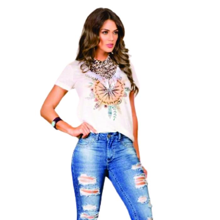 T-SHIRT FEMININA BUPHALLOS BRANCA COM BANDANA 9983