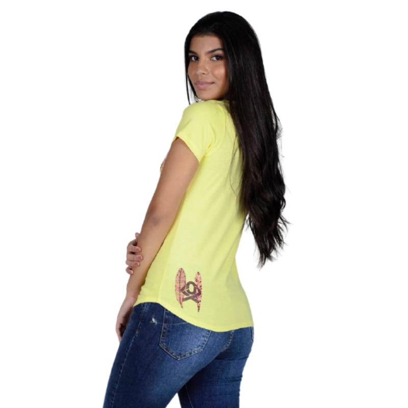 T-SHIRT FEMININA OX HORNS AMARELA 6187