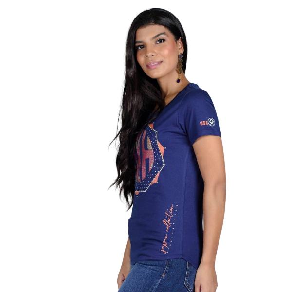 T-SHIRT FEMININA OX HORNS AZUL MARINHO 6189