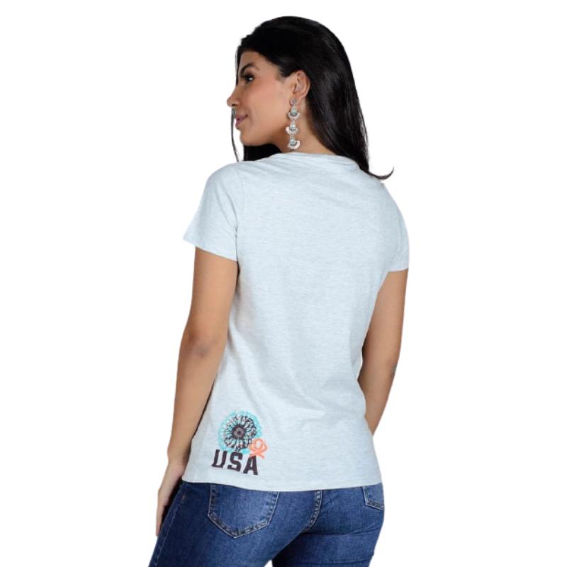T-SHIRT FEMININA OX HORNS CINZA MESCLA 6181