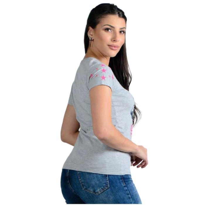 T-SHIRT FEMININA OX HORNS CINZA MESCLA MÉDIA 6145
