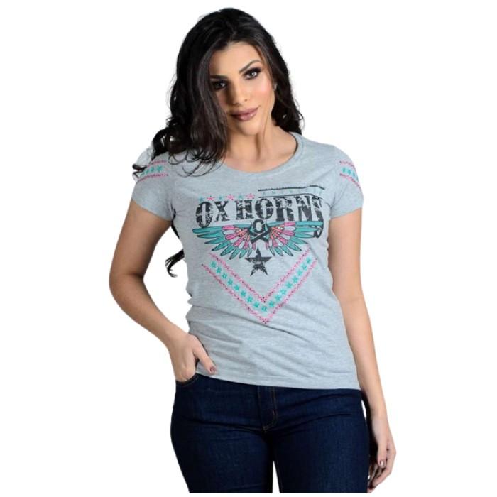 T-SHIRT FEMININA OX HORNS CINZA MESCLA MÉDIA 6162
