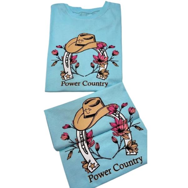 T-SHIRT FEMININA POWER COUNTRY AZUL CLARO FERRADURA