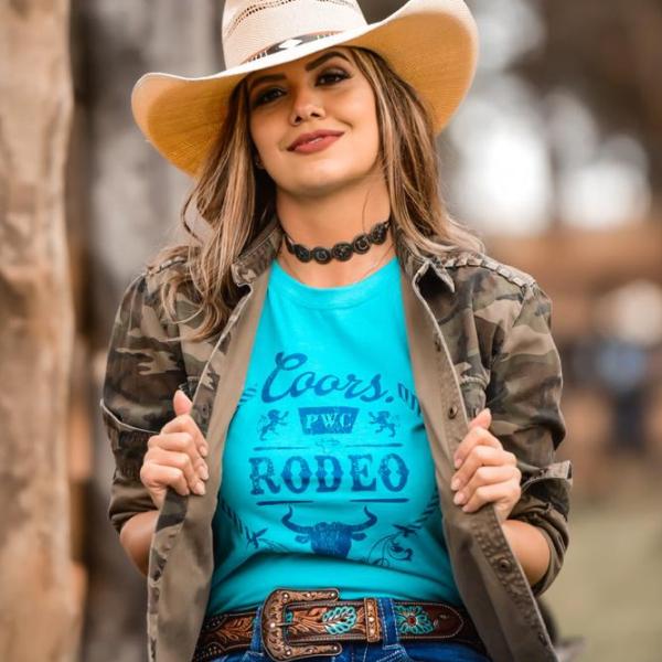 T-SHIRT FEMININA POWER COUNTRY AZUL PISCINA RODEO