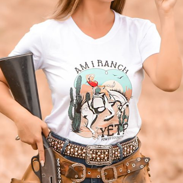 T-SHIRT FEMININA POWER COUNTRY BRANCA AMI RANCH